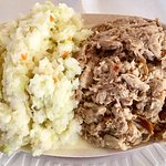 Barbecue and slaw tray