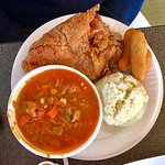 Barbecue, fried chicken, Brunswick stew and hush puppies