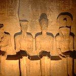 The ancient Egyptian gods Ptah, Amun, Ramses the Great, and Ra at Abu Simbel