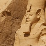 The facade of the memorial temple of Ramses the Great at Abu Simbel