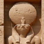 Relief of the ancient Egyptian god Ra at Abu Simbel
