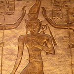The ancient Egyptian gods Seth and Horus crown pharaoh Ramses the Great