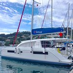 Our boat, a beauty 40ft Catamaran docked here in Grenada