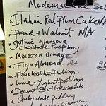 Handwritten menu as it changes regularly.