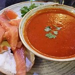 Tomato soup and salmon and cream cheese bagel