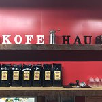 Kofe Haus Grinder and coffee display