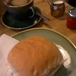 Bacon and egg roll, delicious coffee