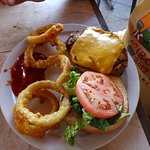Chicken sandwich with onion rings