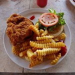 chicken sandwich with fries