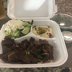 Lamb gyro platter with Greek salad and hummus