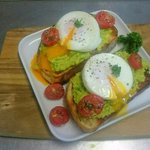 Smashed Avocado on toast with poached eggs