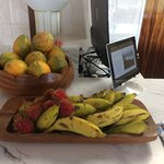 Fresh Hawaiian fruit at the hotel desk.