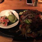 Beef fajitas and mahi mahi tacos