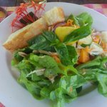 chicken pawpaw salad with turkish bread
