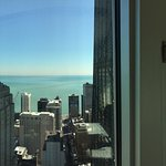 Views from the 39th floor exec suite w/city & lake views. Watching the sunrise over the lake fro