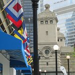 Chicago Riverwalk with Colorful Storefront Flags
