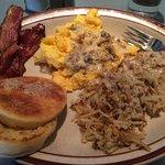 standard egg, bacon, hashbrowns, muffin plus add sausage gravy!