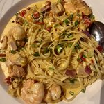 Fettucine and cheese with seafood
