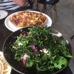 BBQ Pulled Pork Pizza with pickled beetroot and goats cheese rocket salad