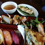 Chicken & green onion kushi yaki (in the back) and Ginger Salmon lunch bento with 3pcs nigiri