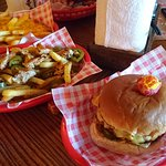 Cheese and bacon burger with Mexican bandito fries