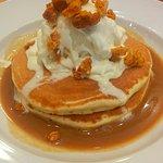 Honey comb and hot salted caramel pancakes