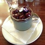 Licorice pannacotta served with black cherries - delicious!