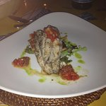 Flying Fish on Focaccia with Tapenade starter