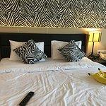 zebra decoration on the bed