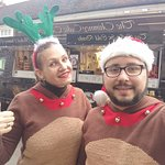 Two reindeers ready to bake some cakes!