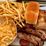 Brisket & Chicken Plate with Mac & Cheese and fries