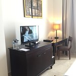 the table, TV and minibar