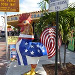 The rooster is one of the icons of calle ocho