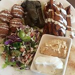 Vegetarian platter (Falafel,fried eggplant,Stuffed vine leaves ,hommus,garlic dip &bread)