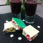 Raspberry and orange liqueur, home-made nougat
