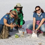 Visiting the salt flats with the guides