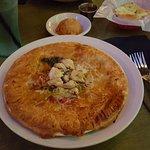 Crawfish pie with lump crabmeat