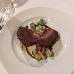 Strip Loin with cauliflower puree, pan fried gnocchi, port wine reduction.