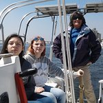 "My daughters and Capt. Bonnie sailing ""Braveheart"""