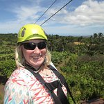 Me - ready for my first time zip linning at Maui Tropical Plantation