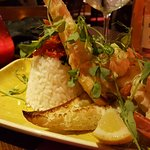 Starter : King prawns, Cheese and Garlic Crostini, Rice with Sun Kissed tomatoes.