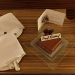 Birthday Cake and Happy Birthday Message from Hotel