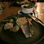 Dinner. Sea bass with new potatoes and selection of vegetables.