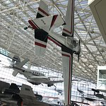 Planes suspended from glass ceiling