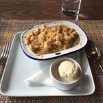 Real rhubard crumble and ice cream