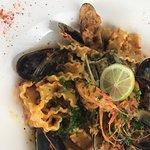 Pasta fruits de mer  Turbo rôti  Moules à la crème  Risotto de homard St Jacques provençales
