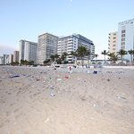 Picture of the beach in the morning from the disgusting spring break guests.