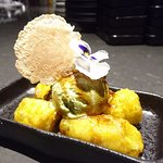 Avocado ice cream, fried banana fritters, gula melaka sago