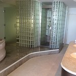 Master bathroom with huge whirlpool tub, sauna, enclosed toilet