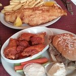 fish, fry, wings, beef on weck